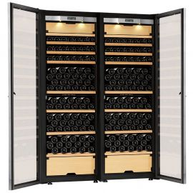 Transtherm Double Castel Wine Cabinet Glass Door Brushed Aluminum NEW #17049