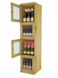 Four Level - Wine Storage Lockers Solid Wood Sides - Commercial Series