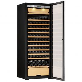 Transtherm Castel Wine Cabinet Glass Door Brushed Aluminum Fully Shelved NEW #17050