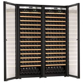Transtherm Double Ermitage Wine Cabinet Glass Door Brushed Aluminum Fully Shelved