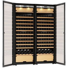 Transtherm Double Castel Wine Cabinet Glass Door Brushed Aluminum Fully Shelved