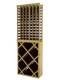 8 Ft. -  Individual Bottle Wine Rack with Diamond Bin with Face Trim