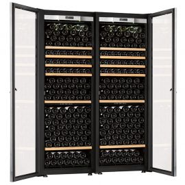 Transtherm Double Ermitage Wine Cabinet Glass Door Black
