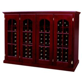 * Product image depicts Base Price Vintage Series Wine Cellar with optional Arched Window Doors w/ French Door upgrade and Dark Cherry stain upgrades for additional cost.