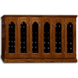 Product image depicts Base Price Vintage Series Wine Cellar with optional Square Window, Raised Molding and Dark stain upgrades for additional cost.
