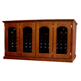 * Product image depicts Base Price Vintage Series Wine Cellar with optional Arched Window Doors and Light Cherry stain upgrades for additional cost.