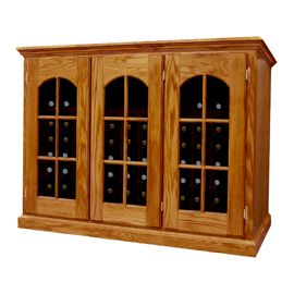 Product image depicts Base Price Vintage Series Wine Credenza with optional Arched Window Doors w/ French Door upgrade and Light stain upgrades for additional cost.