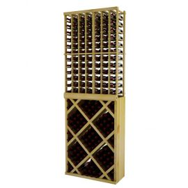 8 Ft. -  Individual Bottle Wine Rack with Diamond Bin with Face Trim - Vintner Series