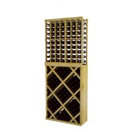 7 Ft. -  Individual Bottle Wine Rack with Diamond Bin with Face Trim