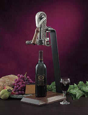 The Rogar Champion Pewter-Plated Wine Opener with Hardwood Handle & Table Stand