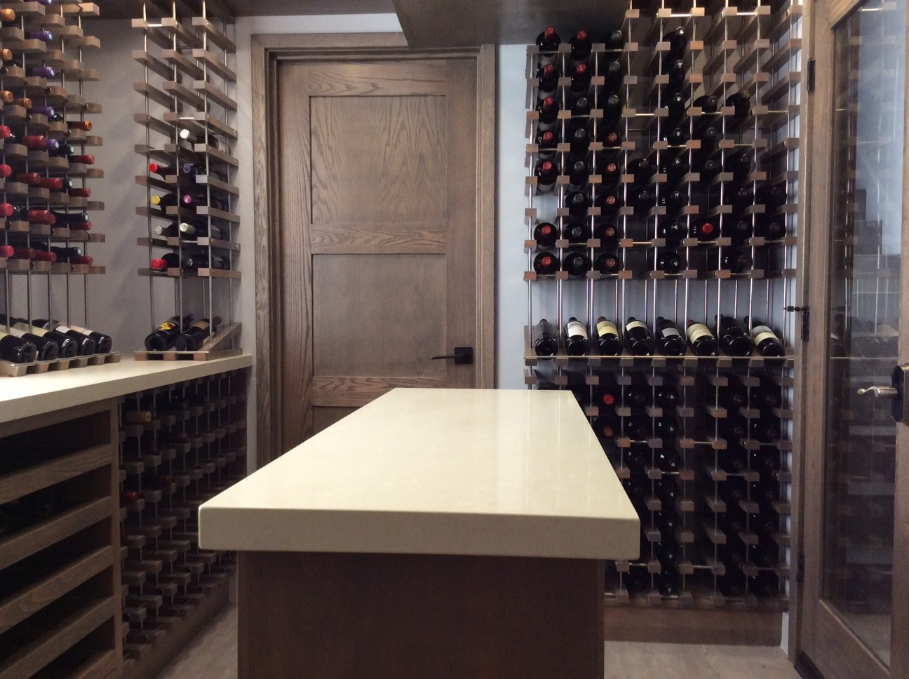 custom wine cellar with tasting table