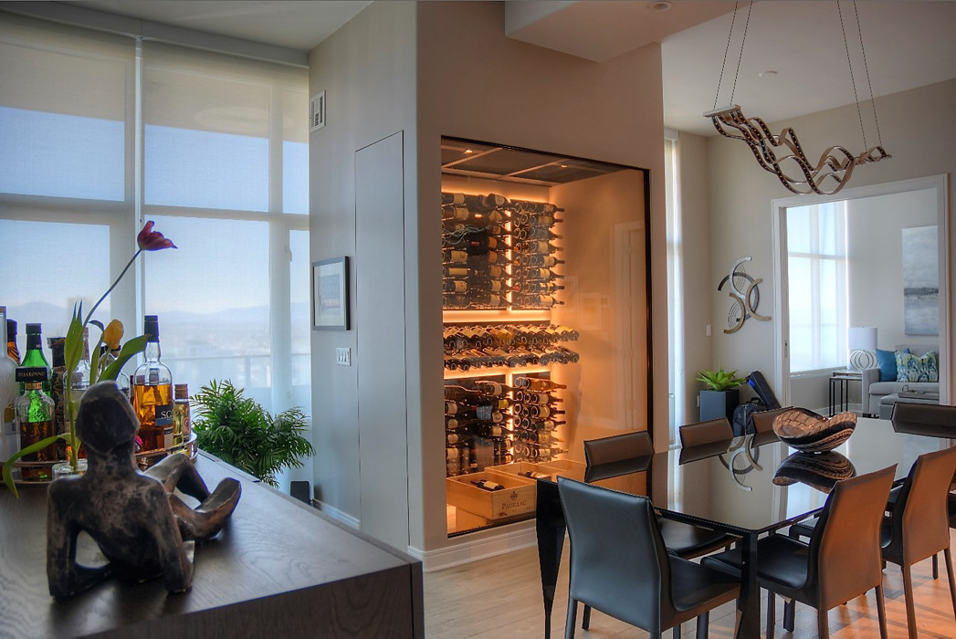 San Diego High-rise Condo Modern Wine Cellar with Glass Front