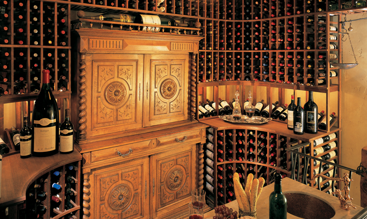 inside a custom Vintage Cellars wine cellar