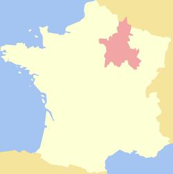 Map region of Champagne, France