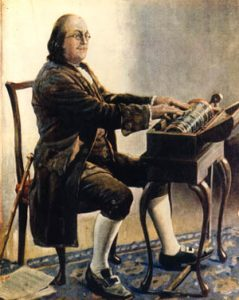 Benjamin Franklin playing on the glass harmonica