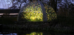 Richard Pim's wine bottle stained glass dome structure in Pembroke, England
