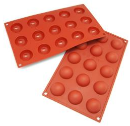 orange half sphere silicone baking pans