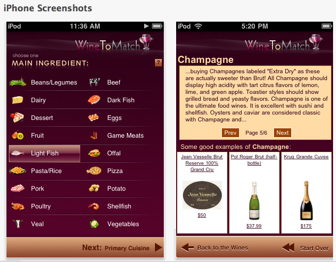 WineToMatch iPhone Screenshots