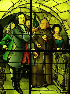 A Stained Glass Window of a Monk Examining Champagne