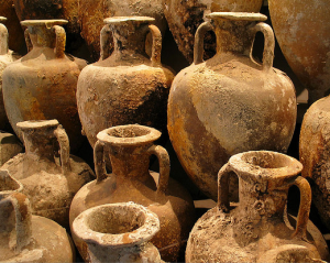 ancient clay jugs