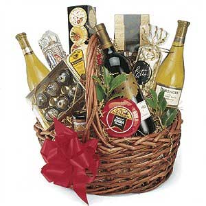 wine in a gift basket