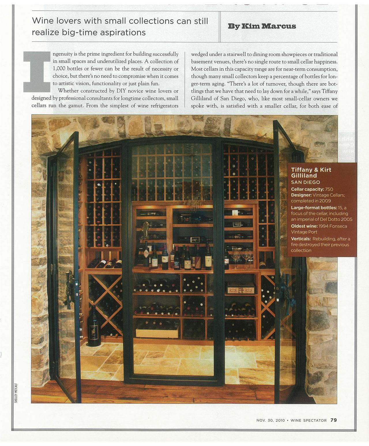 The Gilliland\u0027s 750-bottle wine cellar in San Diego completed in & Vintage Cellars Featured in Wine Spectator! |